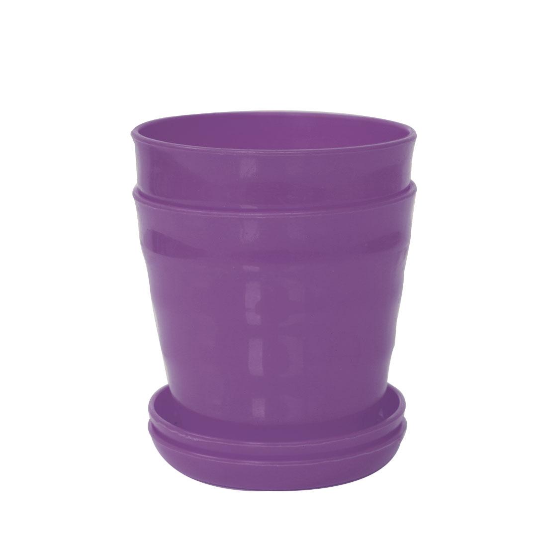 Apartment Desktop Plastic Round Cactus Plant Flower Seed Pot Tray Holder Light Purple 2pcs