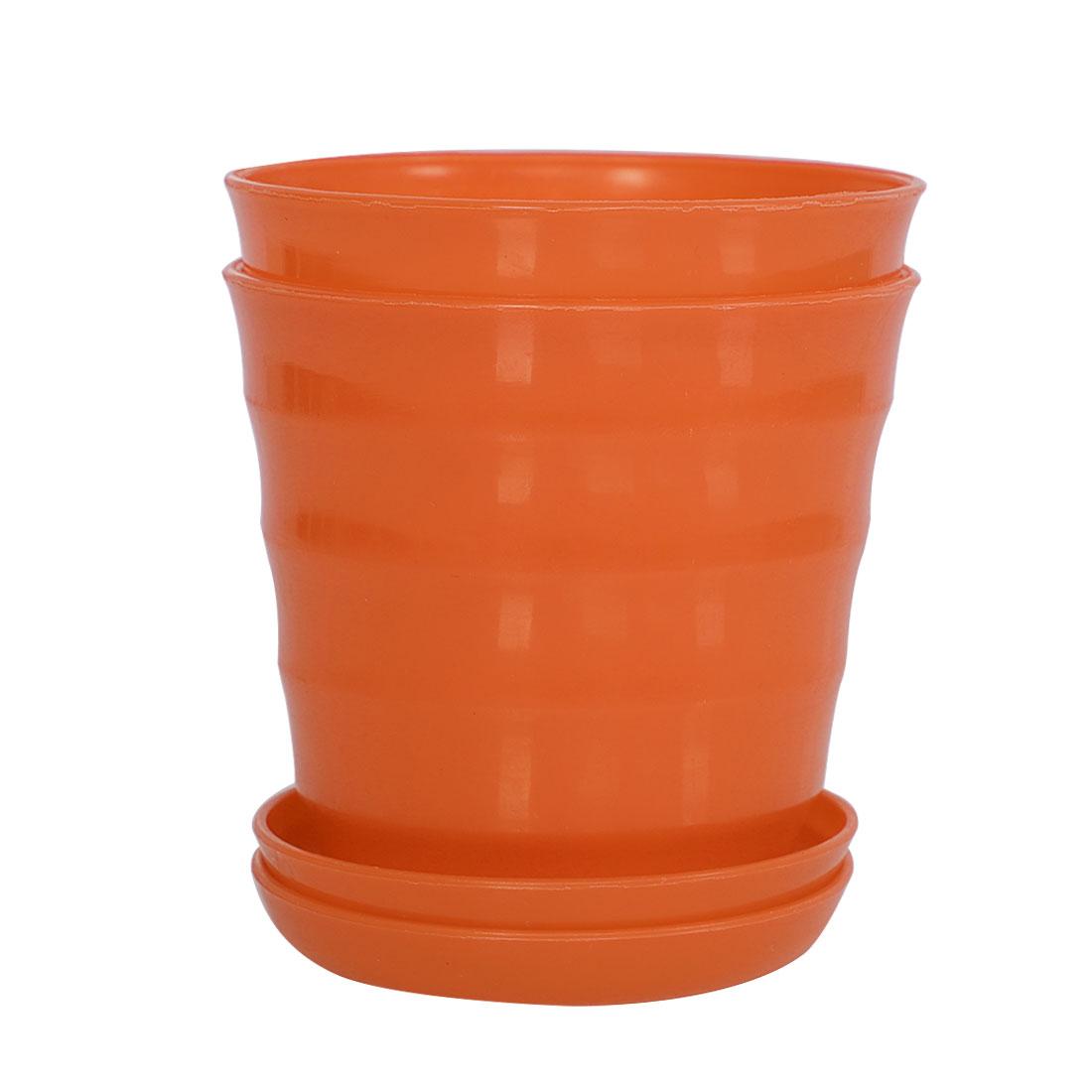 Apartment Desktop Plastic Round Cactus Plant Flower Seed Pot Tray Holder Orange 2pcs