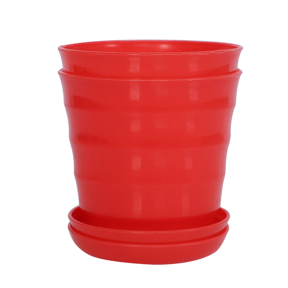 Apartment Desktop Plastic Round Cactus Plant Flower Seed Pot Tray Holder Red 2pcs