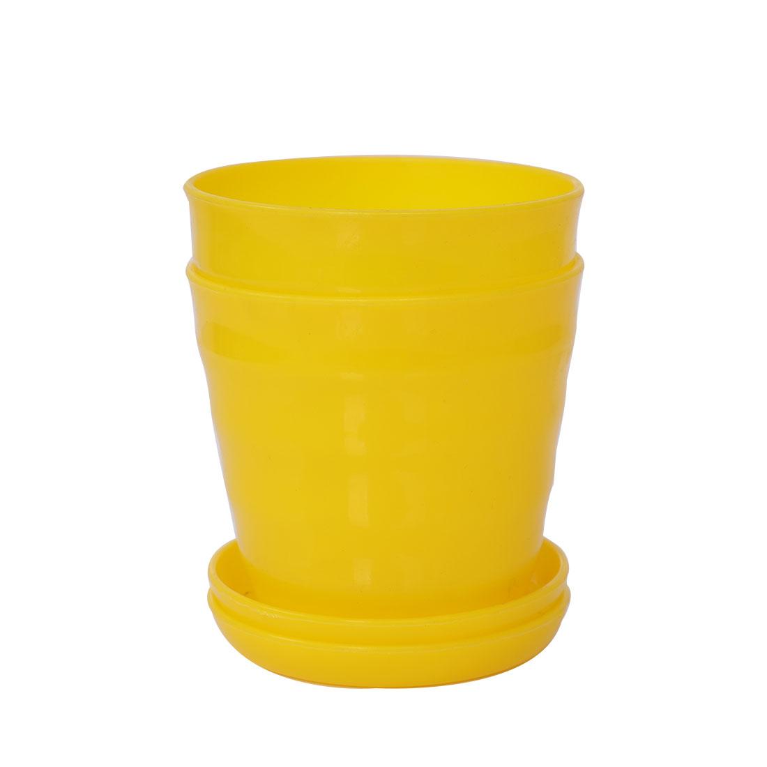 Apartment Desktop Plastic Round Cactus Plant Flower Seed Pot Tray Holder Yellow 2pcs