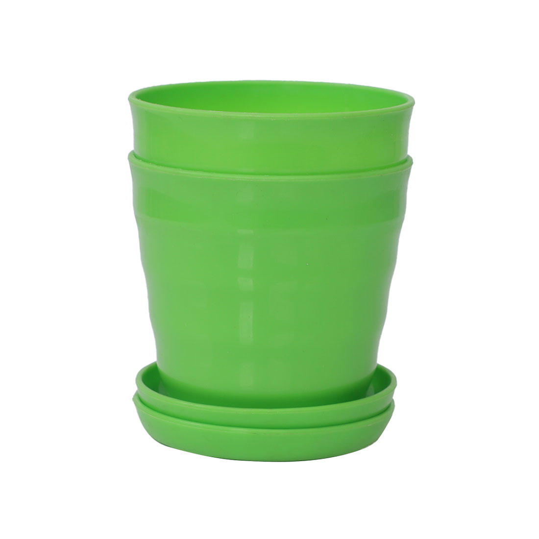 Apartment Desktop Plastic Round Cactus Plant Flower Seed Pot Tray Holder Green 2pcs