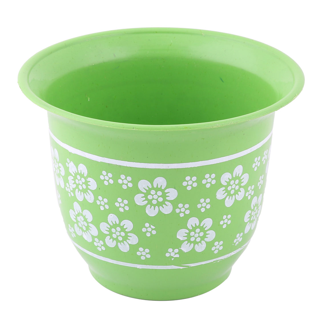 Party Decor Plastic Flower Pattern Round Plant Cactus Pot Holder Green 14cm Dia