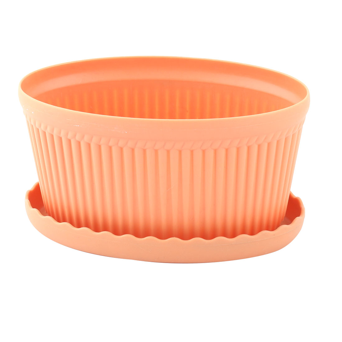 Home Ornament Plastic Oval Flower Cactus Plant Pot Tray Holder Container Orange