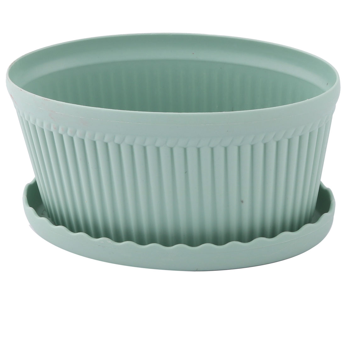 Plastic Oval Flower Cactus Plant Pot Tray Holder Container Ornament Light Green