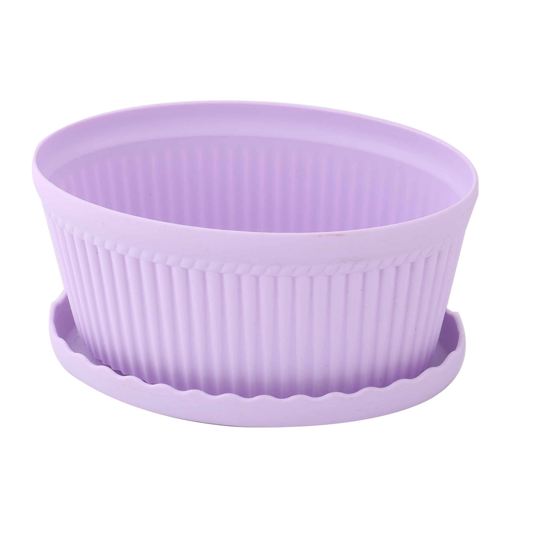 Plastic Oval Flower Cactus Plant Pot Tray Holder Container Ornament Light Purple