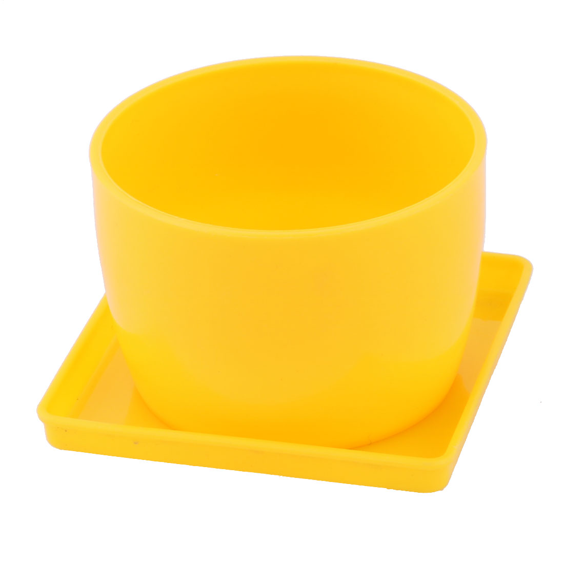 Restaurant Corner Plastic Round Aloes Rose Plant Flower Grass Pot Tray Holder Yellow