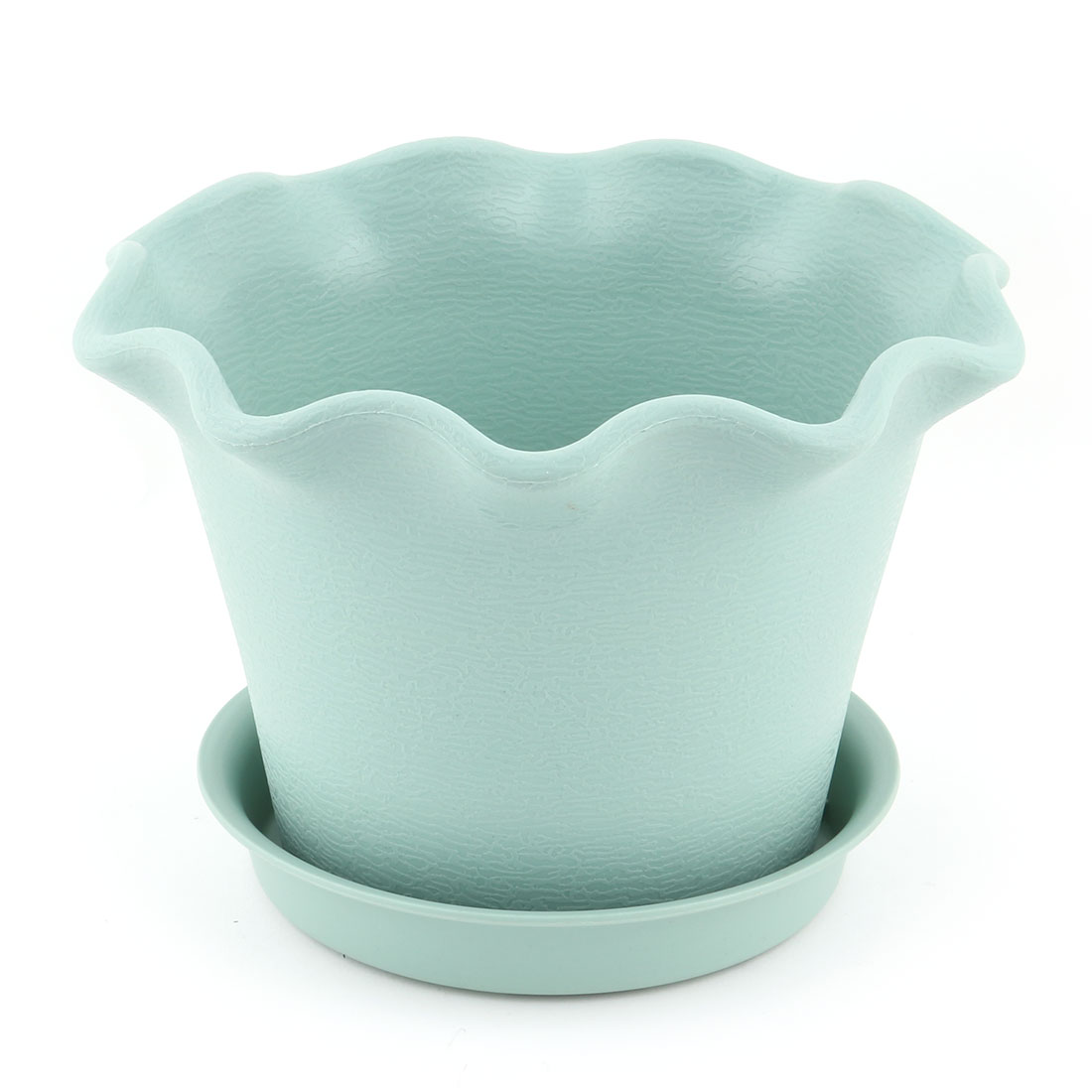 Office Table Plastic Petal Shaped Succulent Plant Flower Pot Holder Container Turquoise