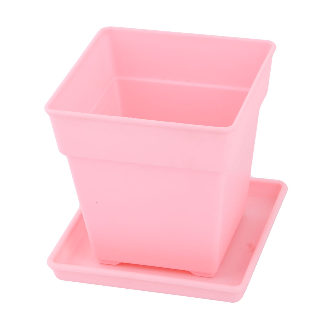 Desktop Decor Plastic Square Flower Grass Plant Pot Tray Holder Container Pink