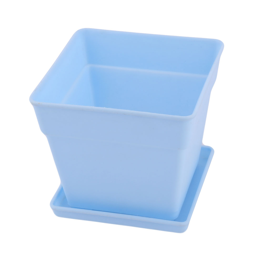Office Plastic Square Flower Plant Pot Tray Saucer Holder Container Light Blue