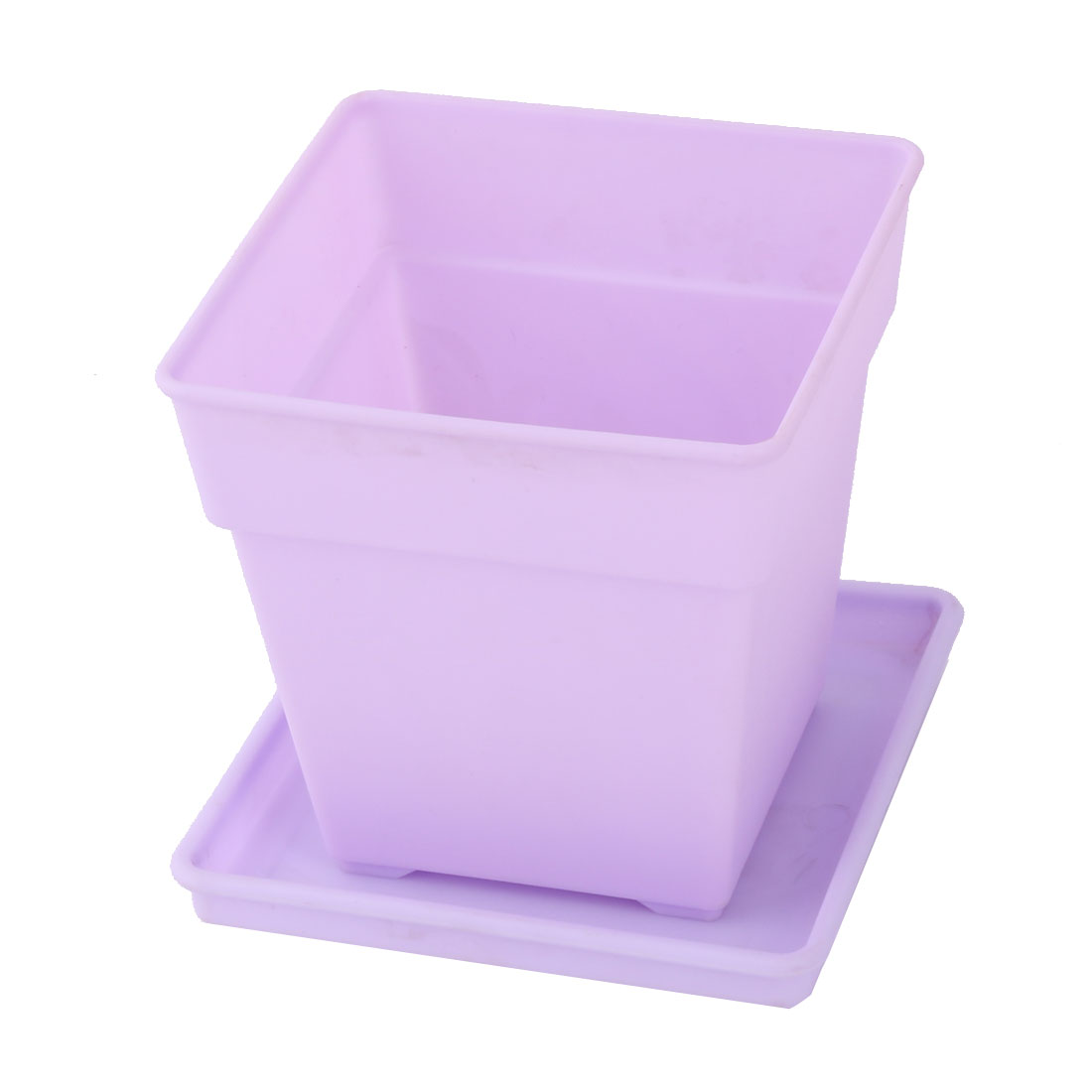 Desktop Decor Plastic Square Flower Plant Pot Tray Holder Container Light Purple
