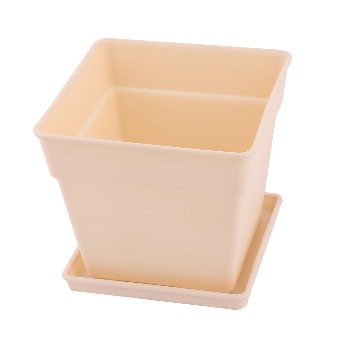 Office Decor Plastic Square Flower Plant Pot Tray Saucer Holder Container Beige