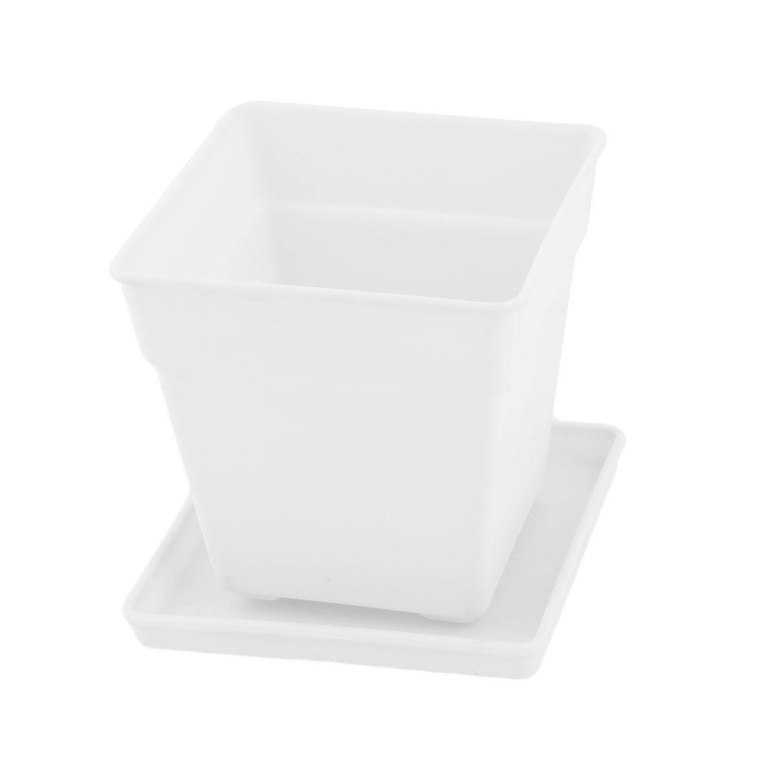 Desktop Decor Plastic Square Flower Grass Plant Pot Tray Holder Container White