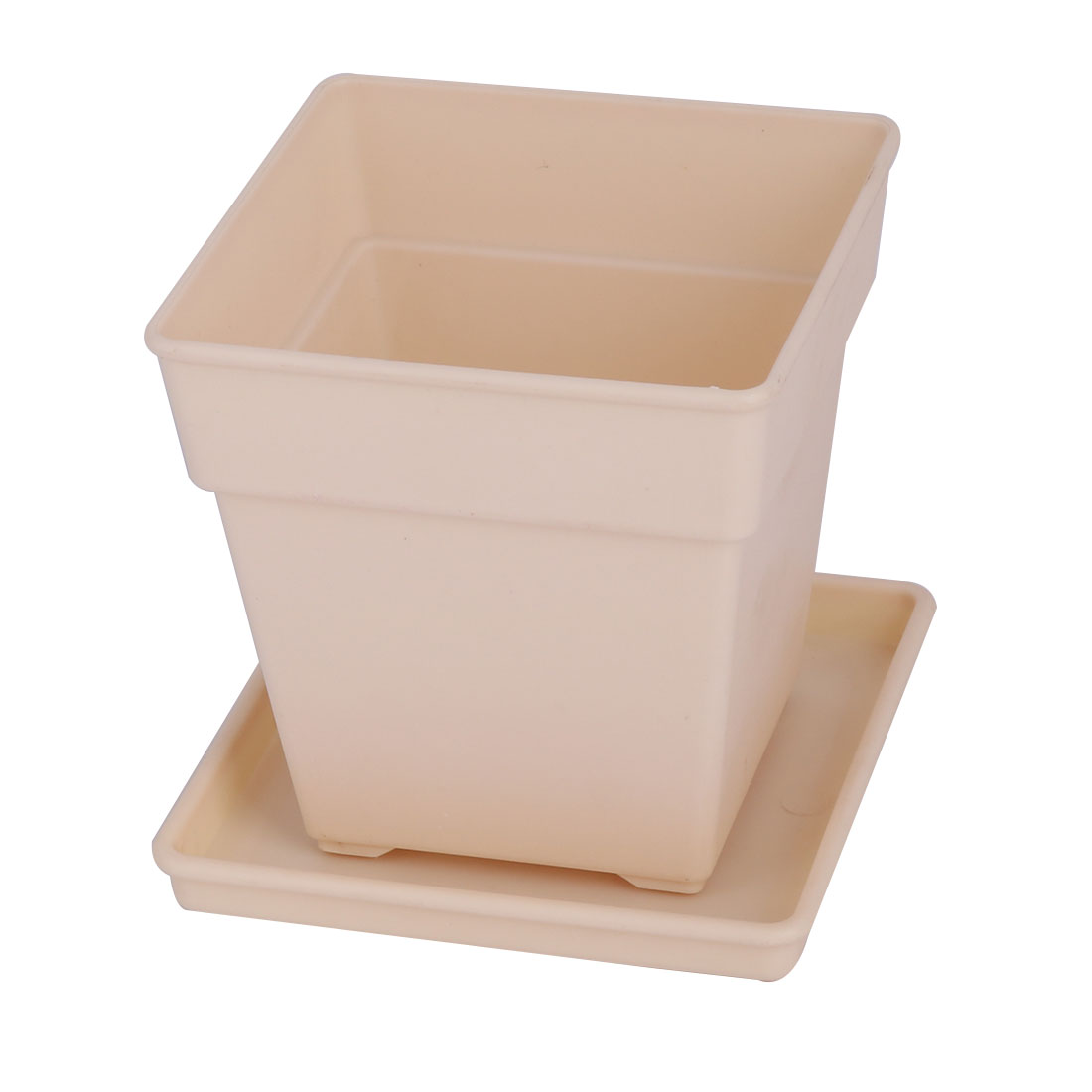 Desktop Decor Plastic Square Flower Grass Plant Pot Tray Holder Container Beige