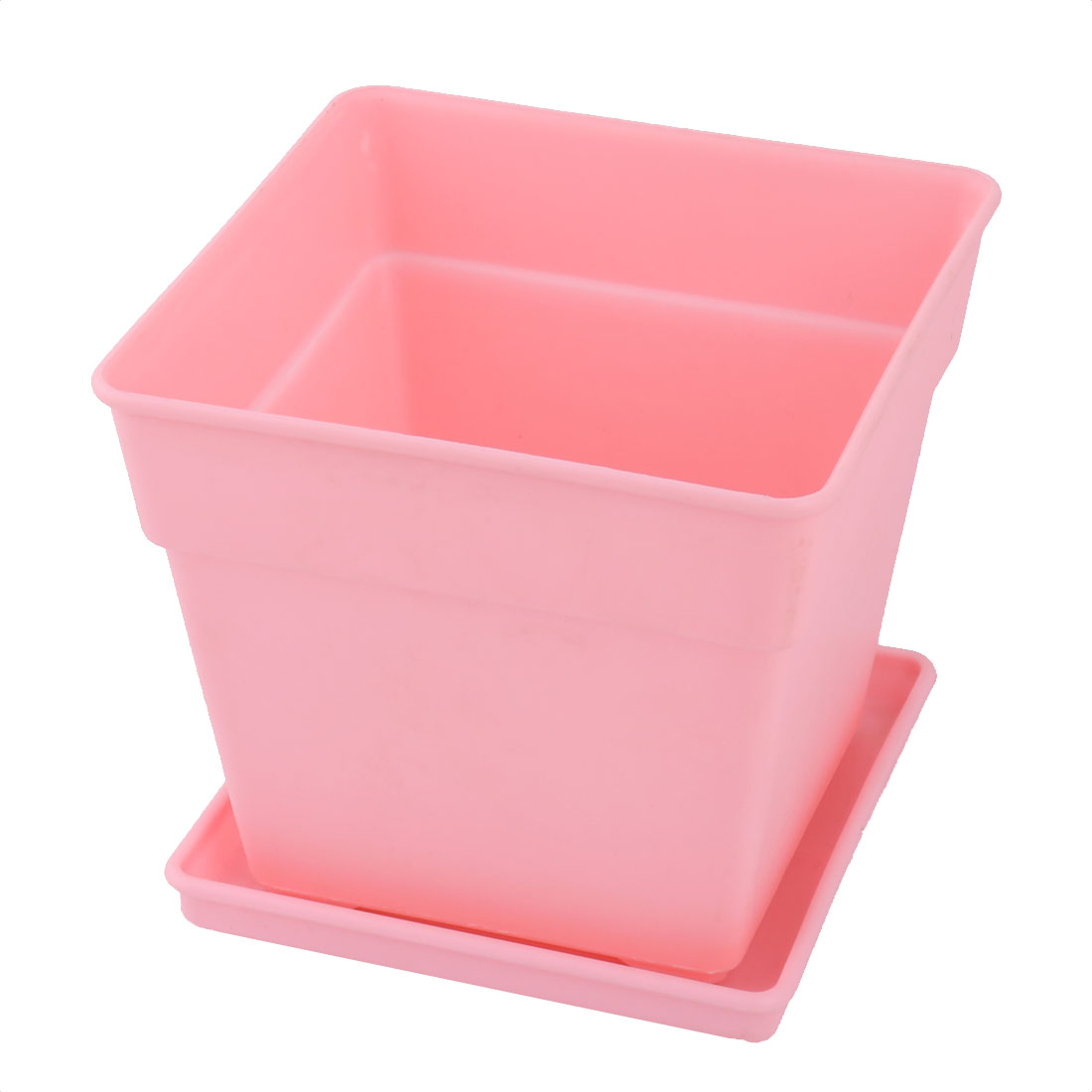 Office Decor Plastic Square Flower Plant Pot Tray Saucer Holder Container Pink
