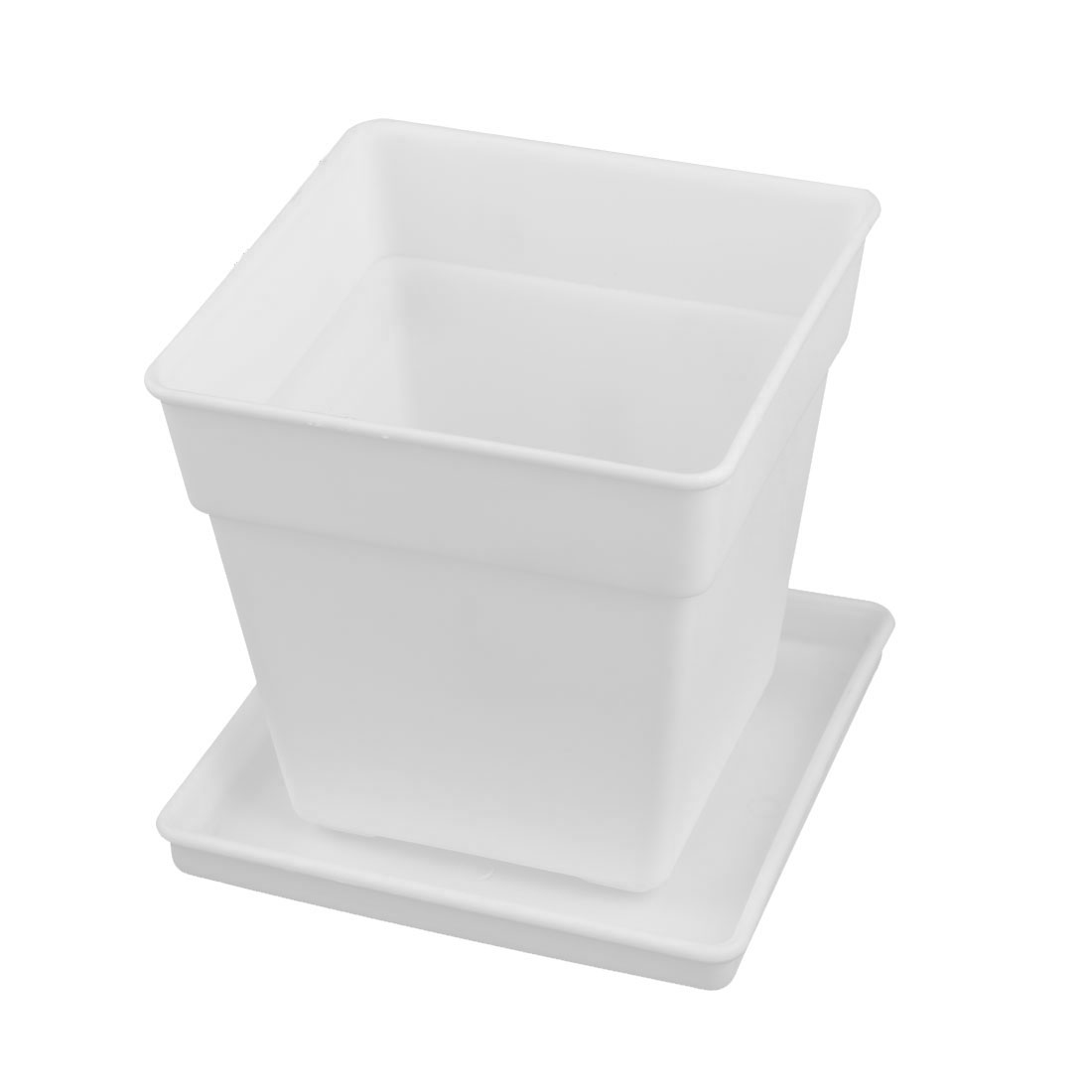 Balcony Decor Plastic Square Flower Cactus Plant Pot Tray Holder Container White