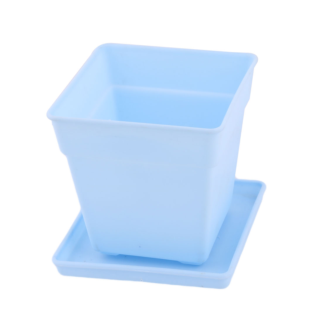Desktop Decor Plastic Square Flower Plant Pot Tray Holder Container Light Blue