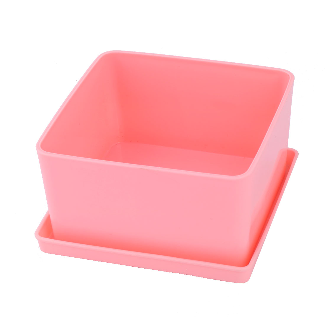 Home Desktop Ornament Plastic Flower Grass Plant Pot Tray Holder Container Pink