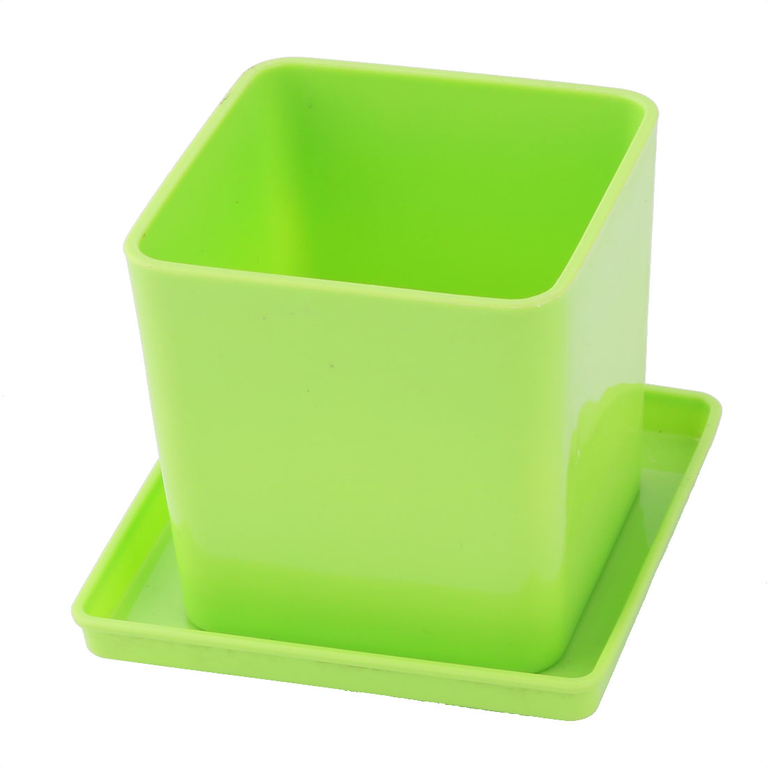 Home Garden Plastic Square Rose Plant Flower Pot Tray Holder Green 2.8 Inch Height