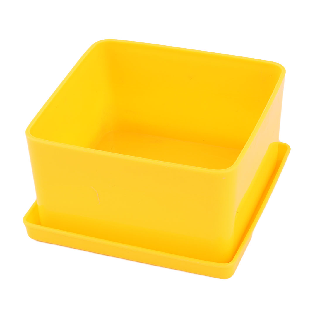 Home Desktop Decor Plastic Flower Grass Plant Pot Tray Holder Container Yellow
