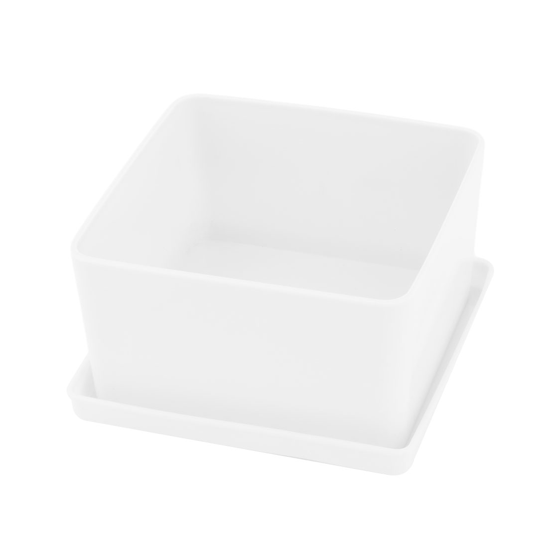 Home Desktop Ornament Plastic Flower Grass Plant Pot Tray Holder Container White
