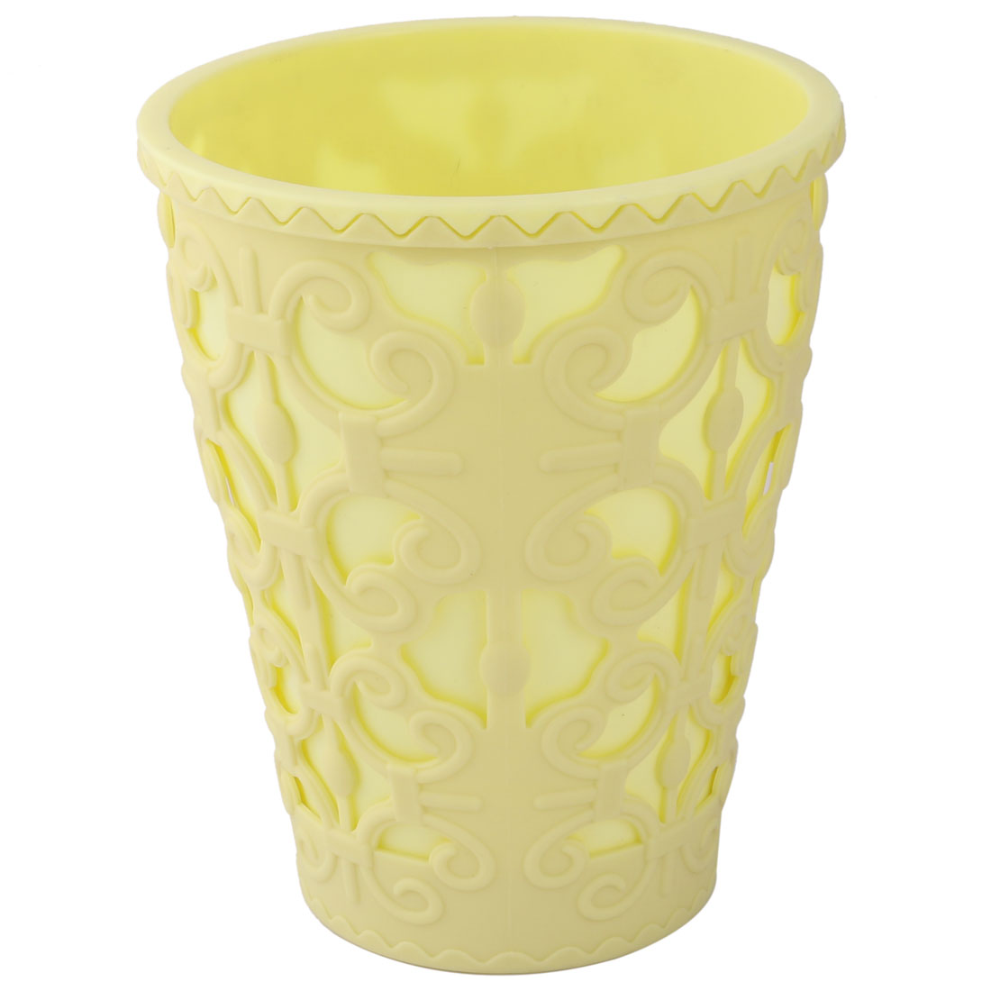 Household Plastic Hollowed Out Design Plant Flower Aloes Cactus Pot Light Yellow 16cm Dia