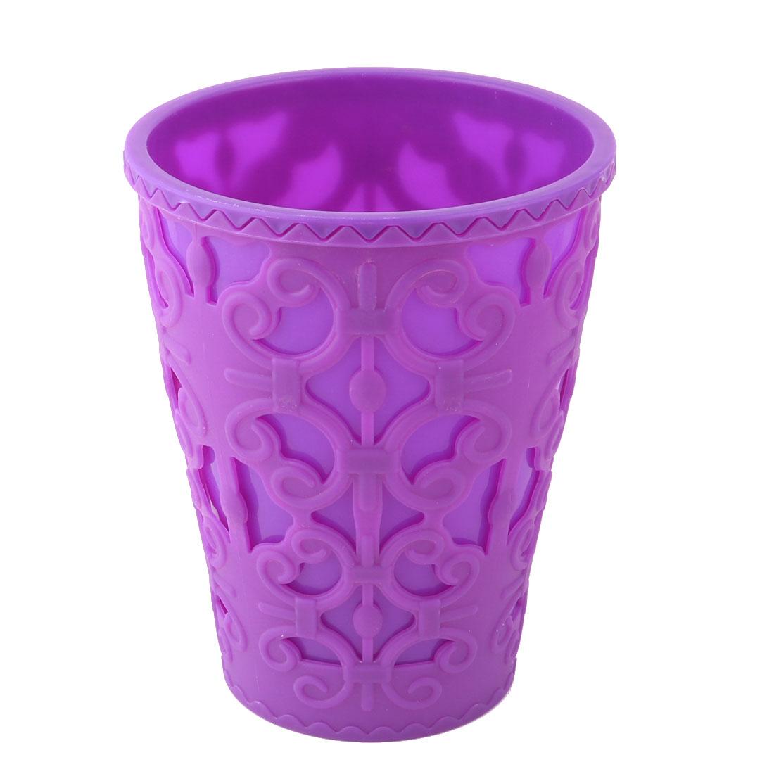 Household Plastic Hollowed Out Design Plant Flower Aloes Cactus Pot Purple 16cm Dia