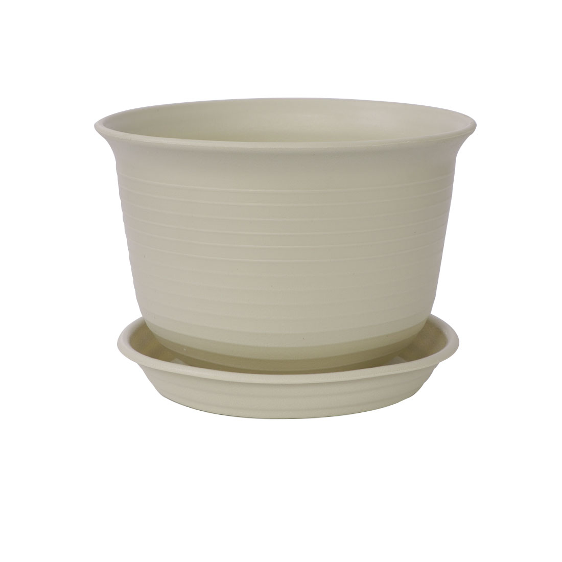 Balcony Office Garden Plastic Round Plant Holder Container Flower Pot Tray Khaki