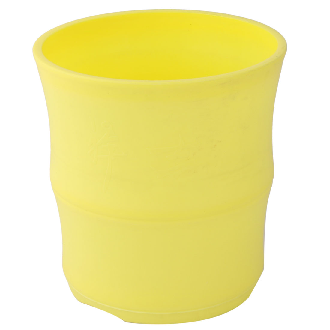 Garden Decor Plastic Round Style Flower Cactus Plant Pot Holder Container Yellow