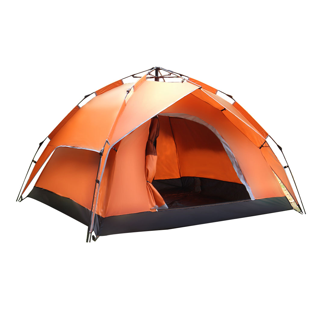 Hiking Double Layer Sun Shelter Foldable Instant Camping Tent 3-5 Person Orange