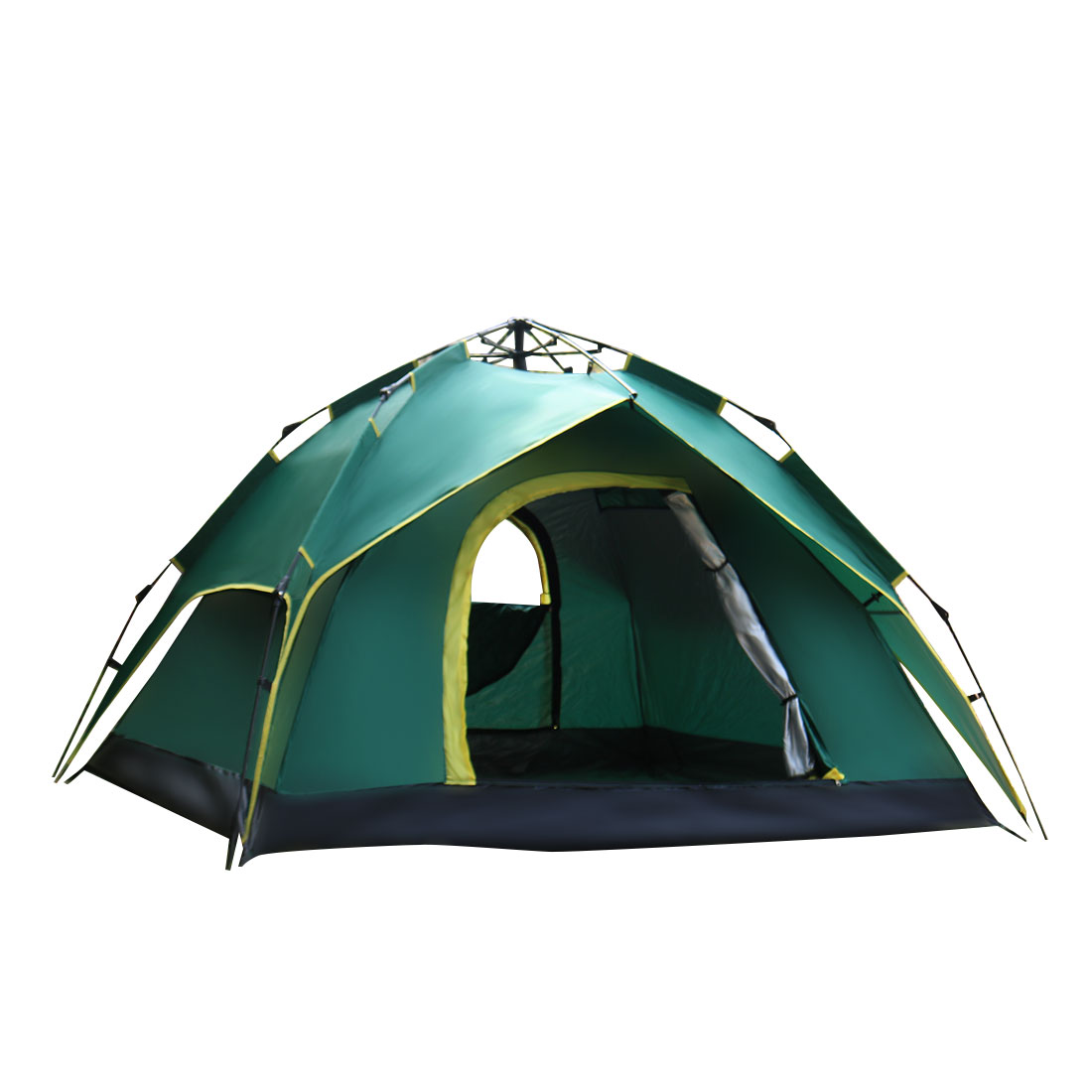 Hiking Backpacking Double Layer Water Resistant Sun Shelter Foldable Instant Camping Tent 3-5 Person Army Green