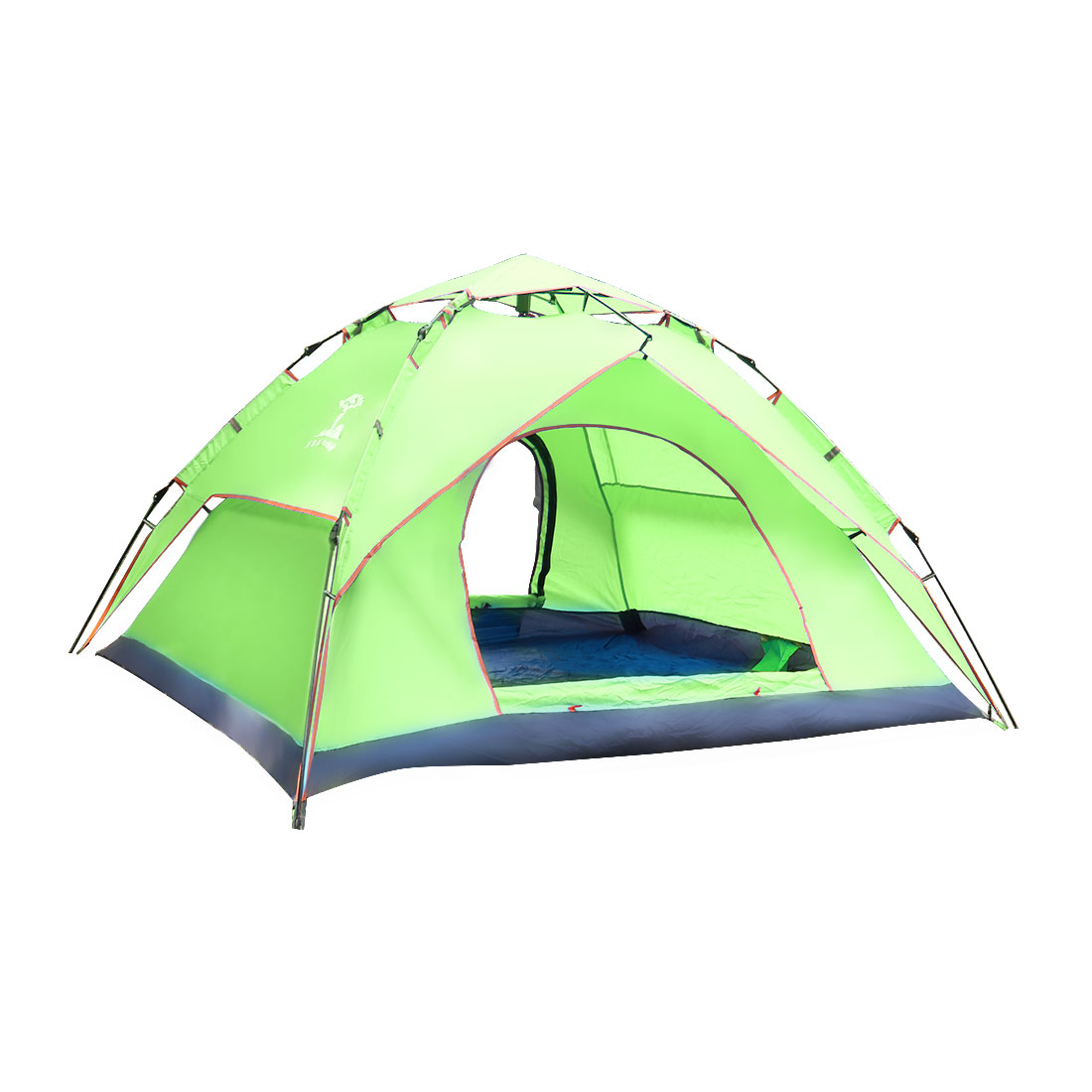 Double Layer Sun Shelter Water Resistant Pop Up Automatic Tent 3-4 Person Fluorescent Green