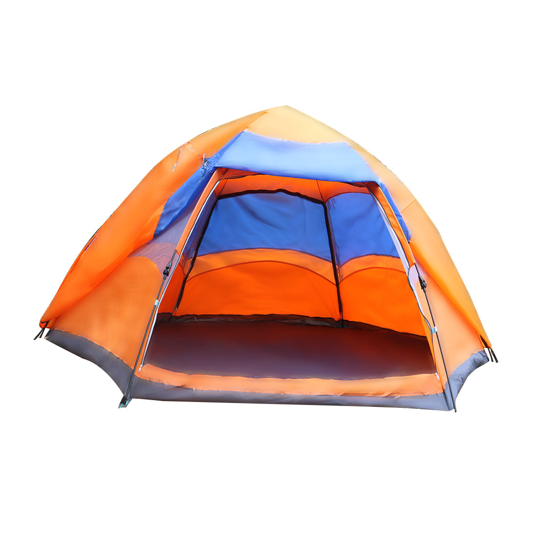 Outdoor Double Layer Sun Shelter Water Resistant Camping Tent 6-9 Person Orange
