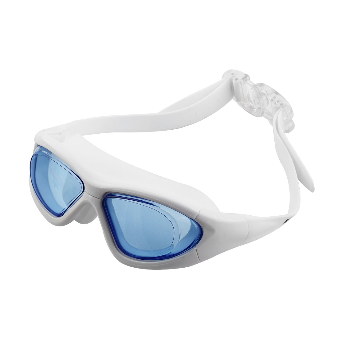 Clear Wide Vision Anti Fog Adjustable Belt Swim Glasses Swimming Goggles Blue w Storage Case for Adult Men Women