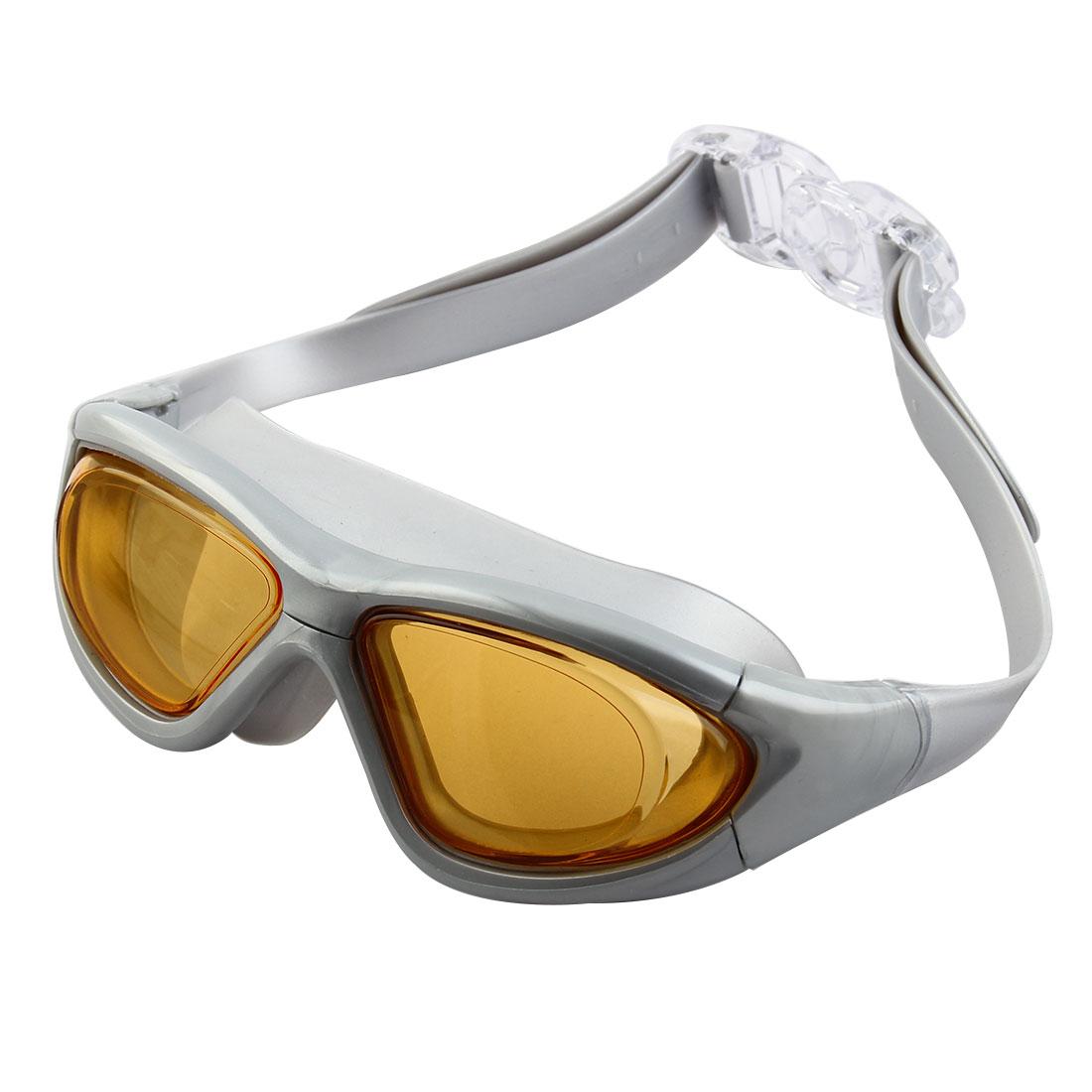 Clear Wide Vision Anti Fog Adjustable Belt Swim Glasses Swimming Goggles Orange w Storage Case for Adult Men Women