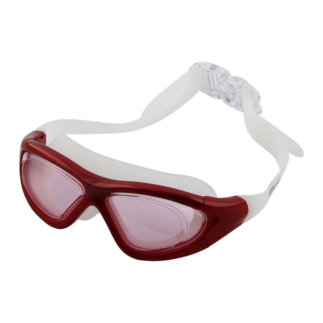 Clear Wide Vision Anti Fog Adjustable Belt Swim Glasses Swimming Goggles Pink w Storage Case for Adult Men Women