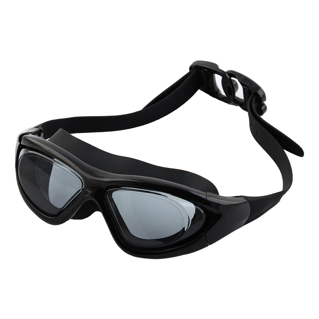 Clear Wide Vision Anti Fog Adjustable Belt Swim Glasses Swimming Goggles Black w Storage Case for Adult Men Women