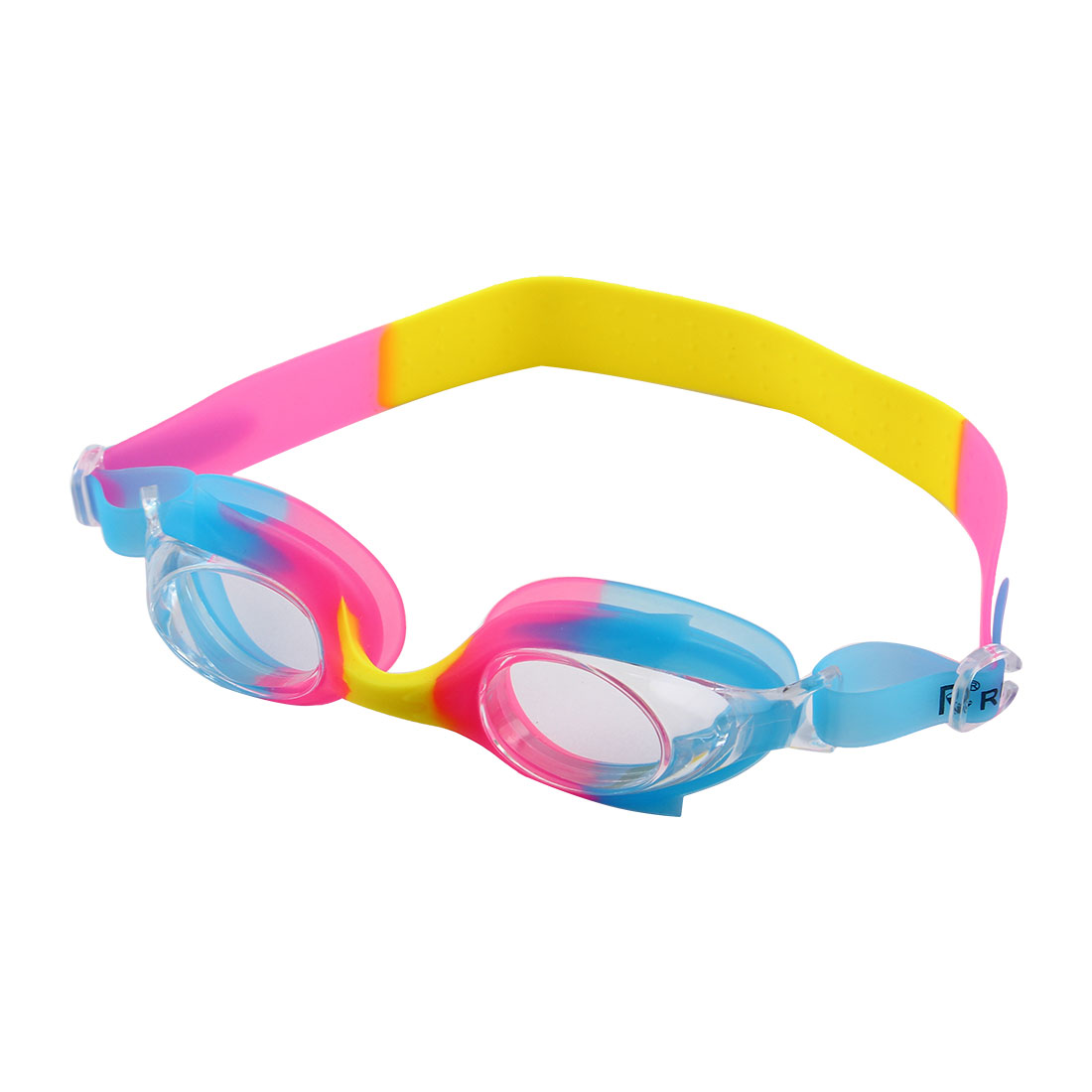 Silicone Adjustable Belt Clear Vision Anti Fog Swim Glasses Swimming Goggles Pink Yellow Blue w Storage Case for Youth Boys Girls