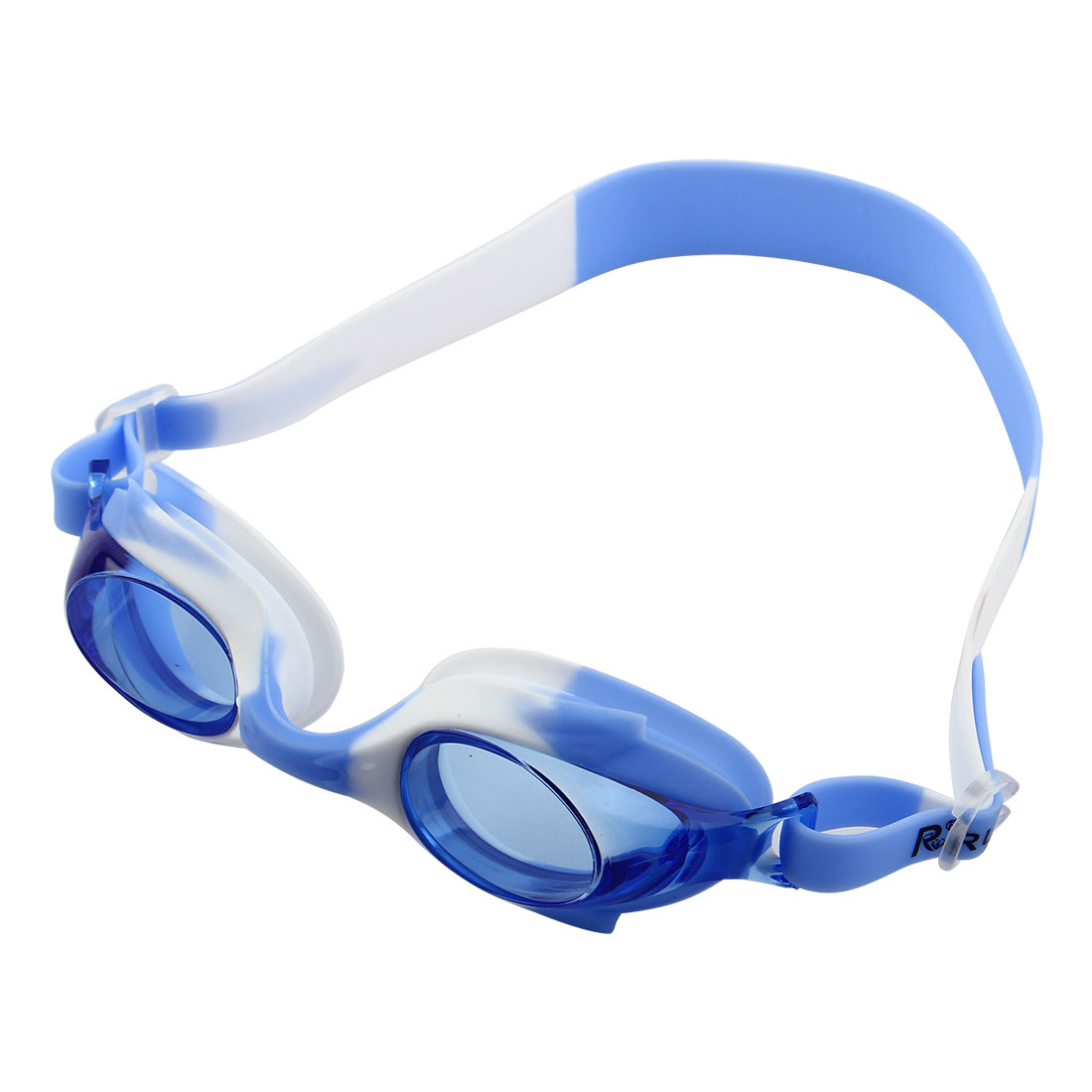 Silicone Adjustable Belt Clear Vision Anti Fog Swim Glasses Swimming Goggles Blue White w Storage Case for Youth Boys Girls