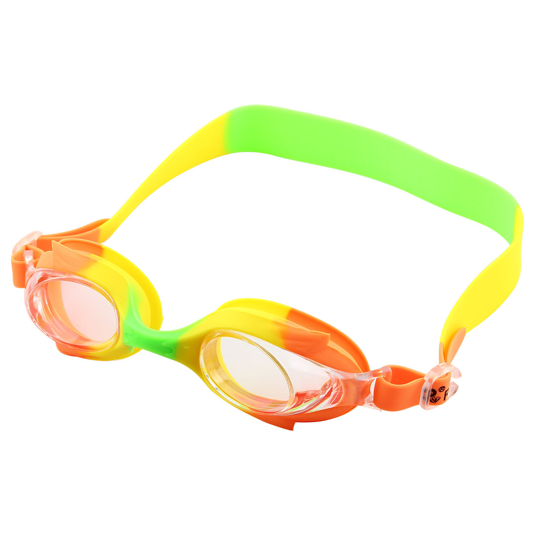 Silicone Adjustable Belt Clear Vision Anti Fog Swim Glasses Swimming Goggles Orange Yellow Green w Storage Case for Youth Boys Girls