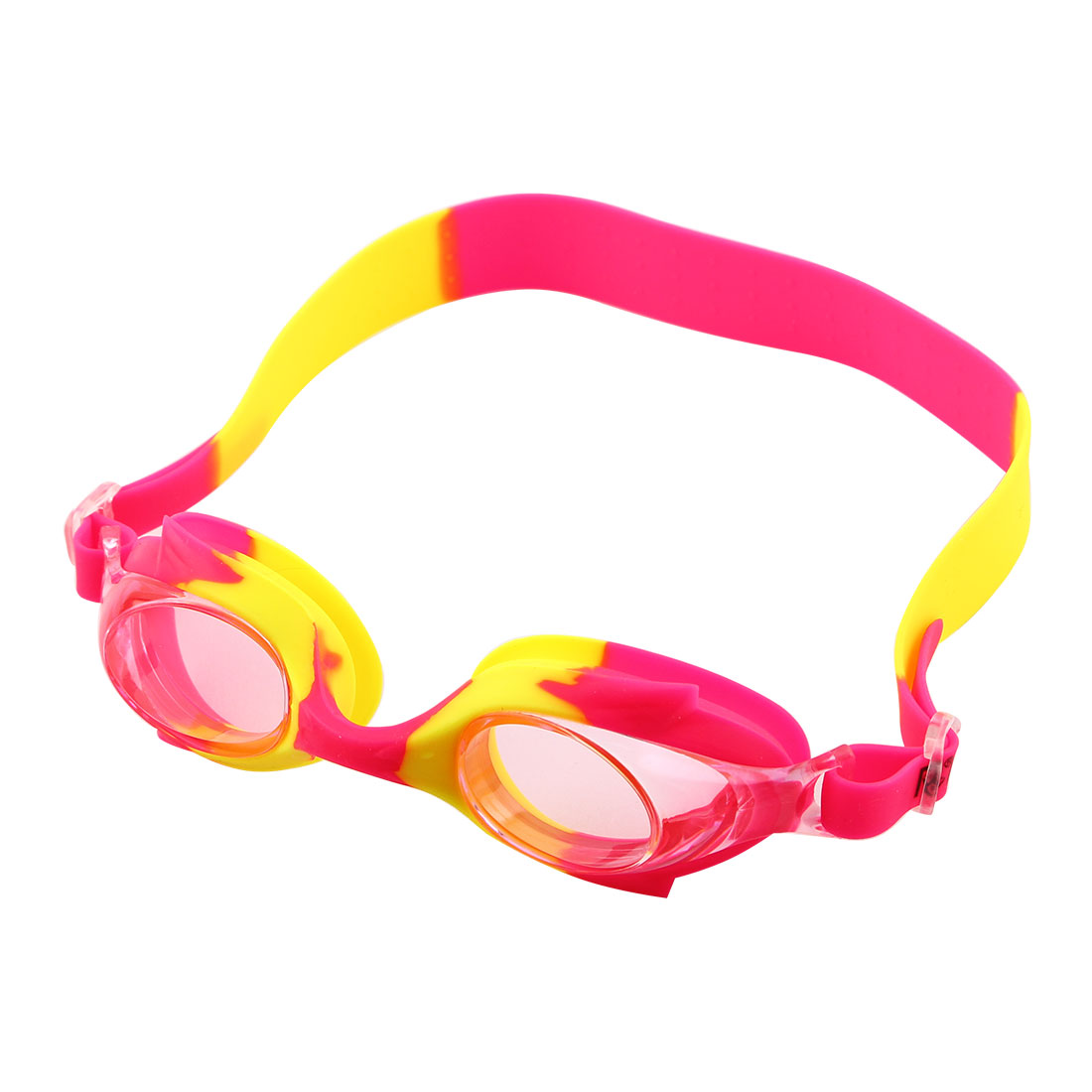 Silicone Adjustable Belt Clear Vision Anti Fog Swim Glasses Swimming Goggles Pink Yellow w Storage Case for Youth Boys Girls