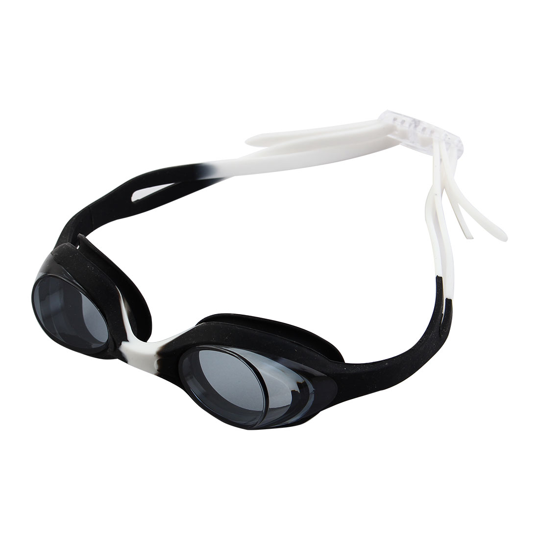 Clear Vision Anti Fog Adjustable Double Belt Swim Glasses Swimming Goggles Black White w Storage Case for Youth Kids Child