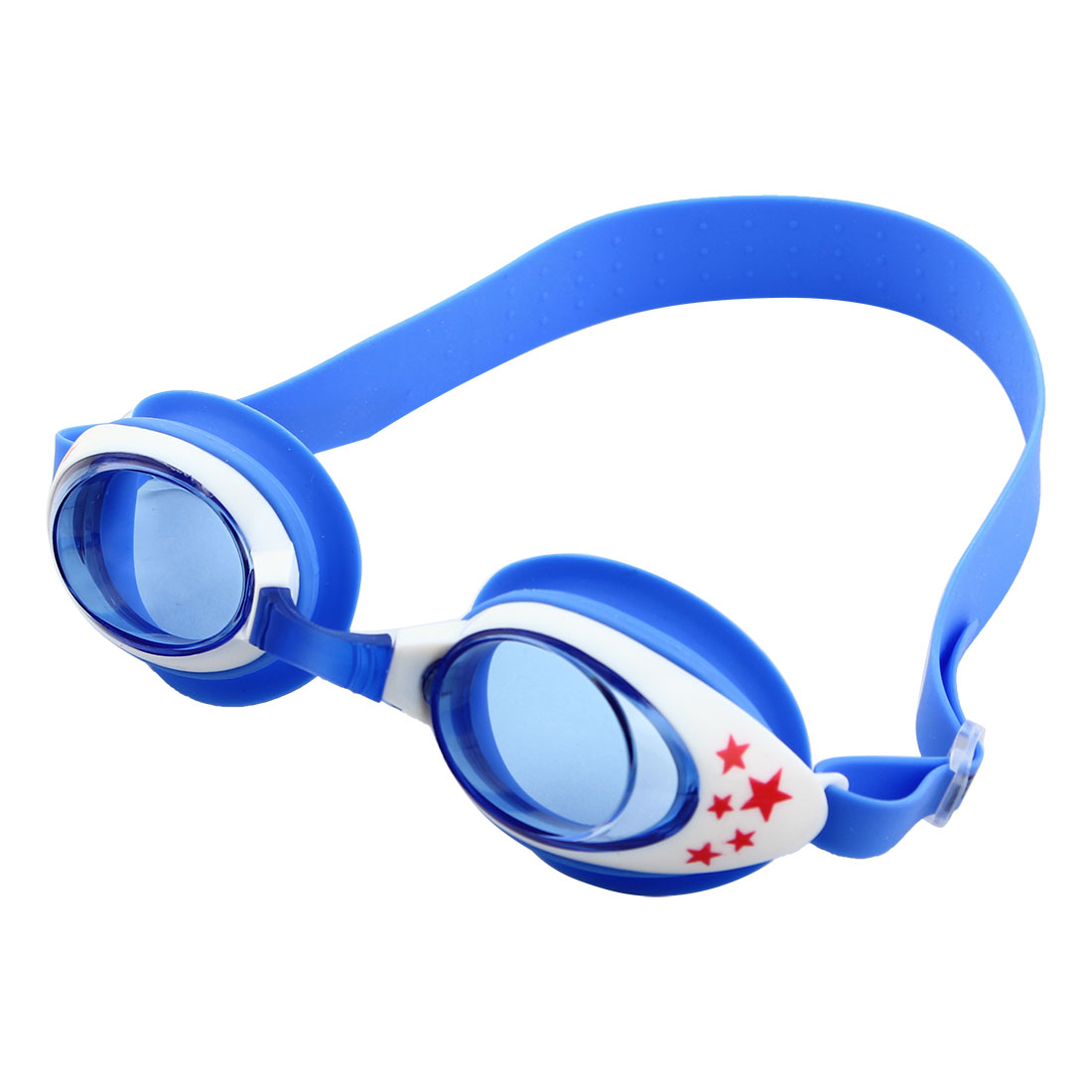 Clear Vision Anti Fog Adjustable Belt Swim Glasses Swimming Goggles Blue White w Storage Case for Youth Boys Girls
