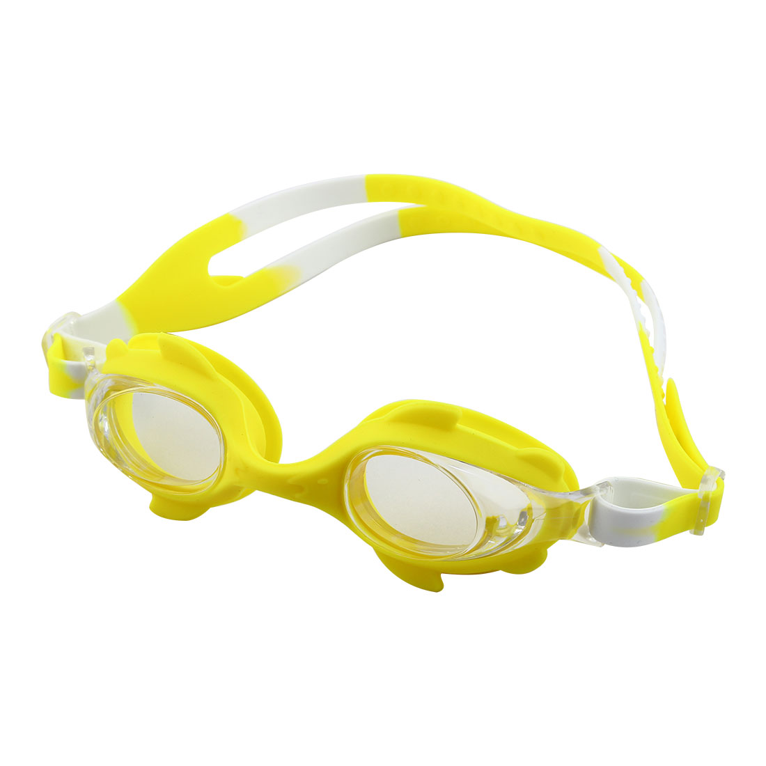 Clear Vision Anti Fog Adjustable Belt Swim Glasses Swimming Goggles Yellow w Storage Case for Youth Children