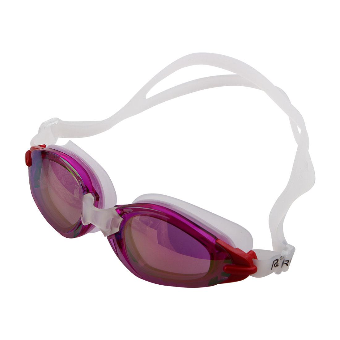 Silicone Adjustable Belt Clear Vision Anti Fog Swim Glasses Swimming Goggles Purple w Storage Case for Men Women