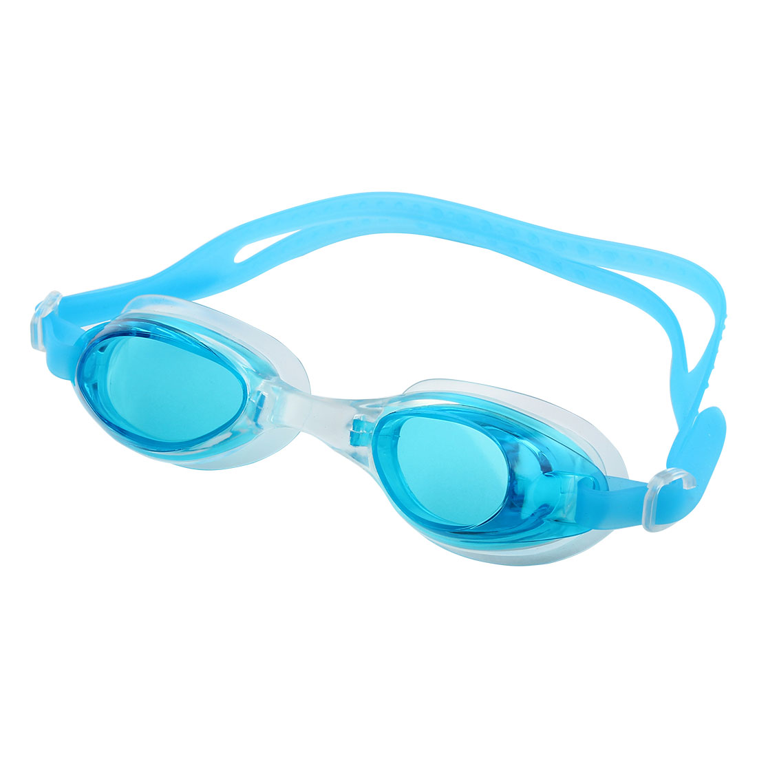 Silicone Adjustable Belt Clear Vision Anti Fog Swim Glasses Swimming Goggles Blue w Storage Bag for Youth Adult Men Women