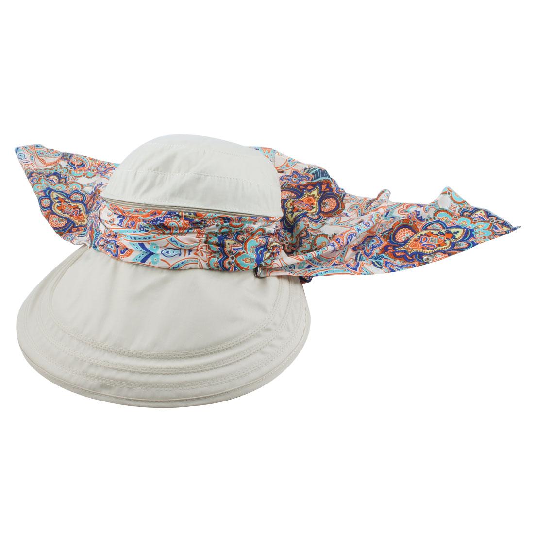 Ladies Women Outdoor Cotton Blends Adjustable Floppy Wide Brim Summer Sun Cap Beach Hat Beige
