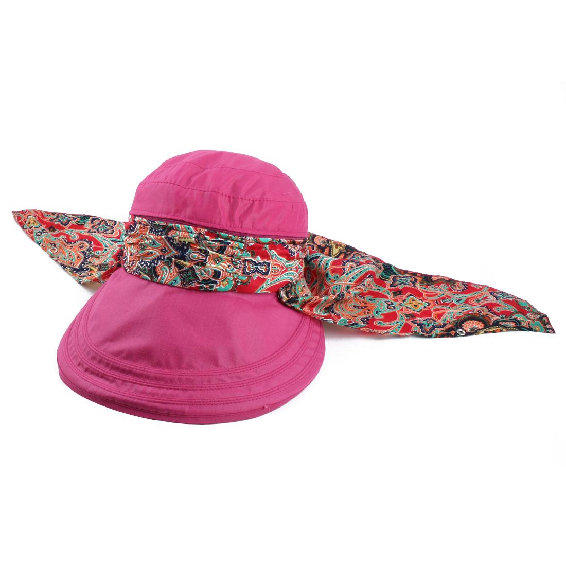 Ladies Women Outdoor Cotton Blends Adjustable Floppy Wide Brim Summer Sun Cap Beach Hat Fuchsia