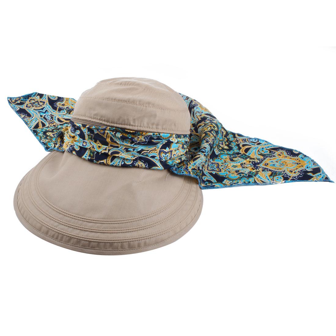 Ladies Women Outdoor Cotton Blends Adjustable Floppy Wide Brim Summer Sun Cap Beach Hat Khaki
