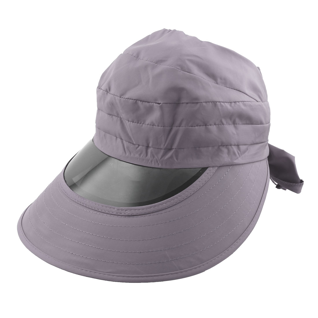 Woman Outdoor Travel Cycling Summer Beach Wide Brimmed Cap Sun Protective Visor Hat Gray