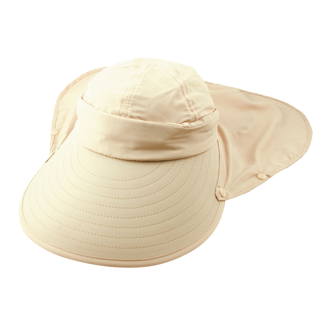 Lady Outdoor Summer Cotton Blends Wide Brim Face Neck Cover Sun Visor Protector Hat Beige